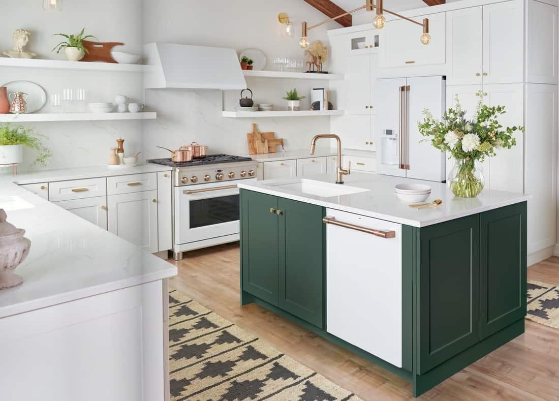 custom green island kitchen cabinets