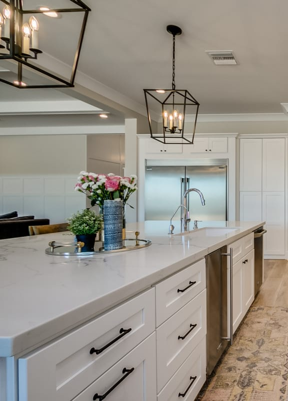 New white kitchen cabinets and countertops vertical